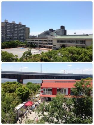 ベランダから見える学校風景
