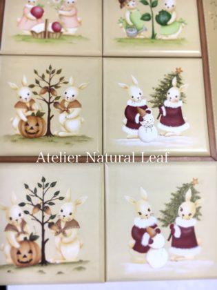 アトリエルナール☆ビギナーカリキュラム No.9ウサギのタイルフレーム