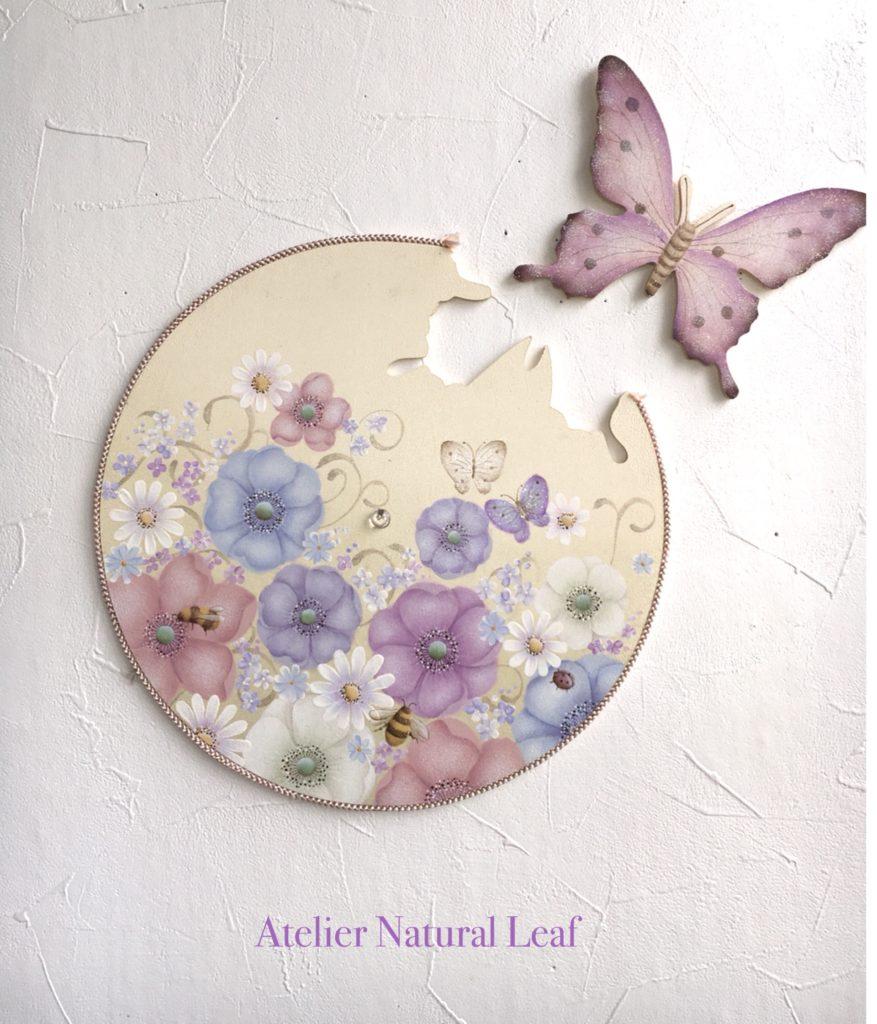 お花と蝶々の時計 デザイン沖昭子先生