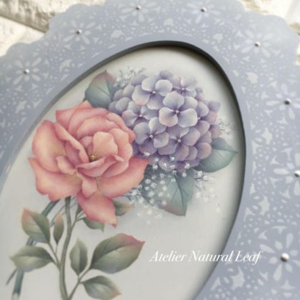 薔薇と紫陽花のレースフレーム デザイン村松里香先生 ペイントクラフトデザインズVol.5
